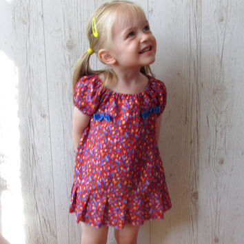 Peasant dress , flower print peasant dress , toddler peasant Dress , Peasant Top , Handmade Dress ,  toddler dress