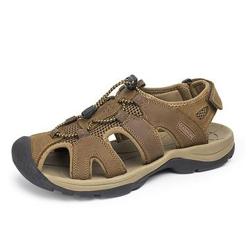 Summer Breathable Mesh Fishman Shoes Fashion Classic Style Toe Cap Cover Genuine Leather Male Sandals Plus Size 28-63