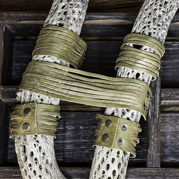 Fringed Leather Bracelet - Distressed Olive Italian Lamb Skin