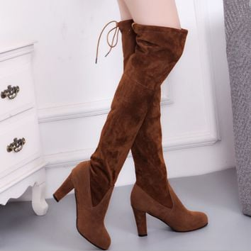 Autumn new boots over knee boots matte leather with high-heeled boots