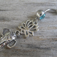Lotus Elephant Belly Ring, Lotus Flower Belly Button Ring, Buddhist Om Belly Piercing, Yoga Inspired, Buddhist Body Jewelry, Elephant