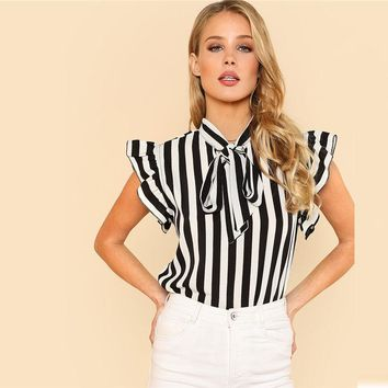 RWL BOUTIQUE Summer Top Elegant Work Women Blouses Cap Sleeve Black and White Tie Neck Butterfly Sleeve Striped Blouse