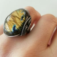Gold Labradorite Ring, Fiery, Bold, Custom Handmade, Sunshine, Golden Stone, Sunny, Darkened Sterling Silver
