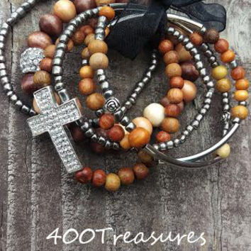 5 wood Bracelets, w Silver Bling Cross Charm, silver, wood & pewter beads, stretch cord,