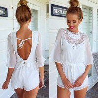 Sexy white backless Jumpsuits KMS46UG