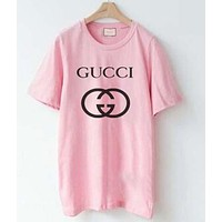 GUCCI summer printed letters pattern short-sleeved loose lovers cotton T-shirt Pink