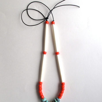 Long necklace turquoise beads red Native American crow beads and long cream bone beads on black leather cord asymmetrical design