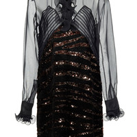 Embellished Sheer Silk Mini Dress | Moda Operandi