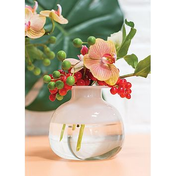 Small Frosted Clear Glass Bud Vase