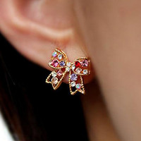 The butterfly with diamond stud earrings