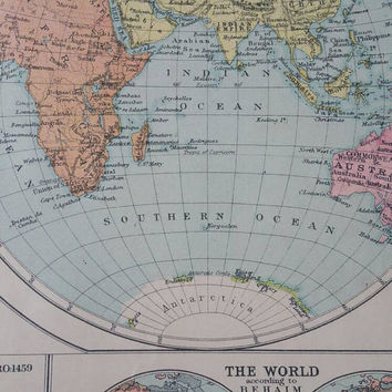 The New Pictorial Atlas of the World / Odams press /1930s vintage Atlas/Fathers day/ships worldwide