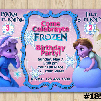Joint Twins Invitation Frozen Anna birthday party custom printable file DIY(#185)