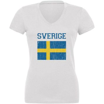 VONE05Y World Cup Distressed Flag Sweden Sverige Juniors V-Neck T Shirt