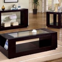 Cappuccino End Table With Glass Insert