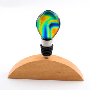 Multi Color Fused Glass Wine Stopper, Stainless Steel, Dichroic Cabochon, Wood Display Stand, Wine Bottle Decor, Unique Wine Gifts