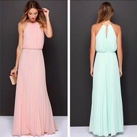 2015 Women Sexy Bohemian Backless Chiffon Dresses Casual Vestiods Club Robe Longue Femme Maxi De Noite Playa Tunics T Shirt HBQ516 = 1928574788