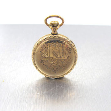 Antique Pocket Watch, 15 Jewels, 14K Yellow Gold Filled, Swiss Watch Hunter Case, Morningside Movement, Etched Case, Currently Not Working,