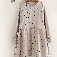4 colors--Wave point stand collar pink girl corduroy long-sleeved   dress mori girl