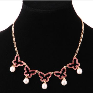 Butterfly Shape Necklace With Pearl