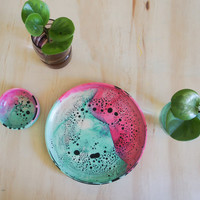 Handmade Round Resin Speckle Platter - Matte Finish - Green + Pink + White with Black Speckle