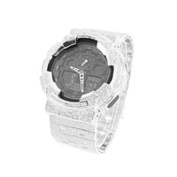 White Mens G-Shock Watch GA100-1A1 Custom Iced Out Simulated Diamonds