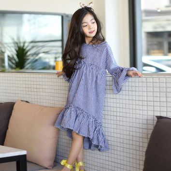 cotton ruffles kids girls dress long sleeve spring mermaid blue plaid maxi long princess dresses for girls 2018 autumn clothes