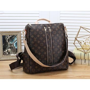 LV Louis Vuitton Fashion Leather Zipper Daypack Travel Bag School Bag Bookbag Backpack