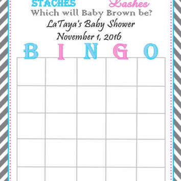 Stache or Lash Gender Reveal Themed Baby Shower Bingo Cards