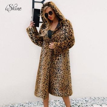 High Quality Luxury Faux Fur Coat Women Thicken Coat Winter Warm Fashion Leopard Artificial Fur Women's Hooded Long Coats Jacket