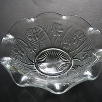 Vintage Crystal Depression Glass IRIS AND HERRINGBONE Pattern Large Fruit Berry Or Serving Bowl Jeanette Glass Co 1928 To 1932