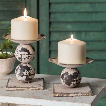 Rustic Sphere Pillar Candle Holder Pair
