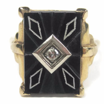 Vintage Art Deco 14K Carved Onyx Diamond Ring Yellow Gold Size 8