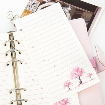 A6 /A5  Colorful  Cherry Blossoms Refills Spiral Notebook Inner Pages 6 Holes Loose Leaf  Gifts Stationery
