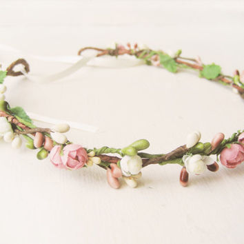 Flower Crown, Floral Crown, Bridal Headpiece, Pink Headband, Pastel Crown, Berry Wreath, Woodland Wedding Hair Accessories