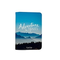 Adventure Awaits [Name Customized] Leather Passport Holder - Leather Passport Cover - Travel Accessory- Travel Wallet for Women and Men_SCORPIOshop