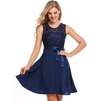 Women Summer Sleeveless Lace Fit And Flare Cocktail Party Dress With Belt