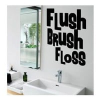 Flush Brush Floss vinyl bathroom decals by tawnyamdesigns on Etsy