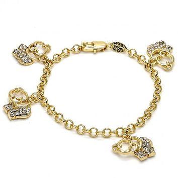 Gold Layered 03.63.1356.06 Charm Bracelet, Elephant and Rolo Design, with White Crystal, Polished Finish, Gold Tone
