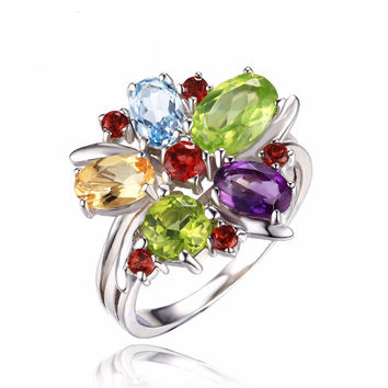 Silver 3.1ct Natural Amethyst Garnet Peridot Citrine Blue Topaz Cocktail Ring