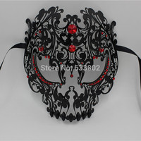 Metal Black Red Gold Silver Full Face Horror Skull Halloween Mask Laser Cut Blue Venetian Masquerade Scary Rhinestone Party Mask