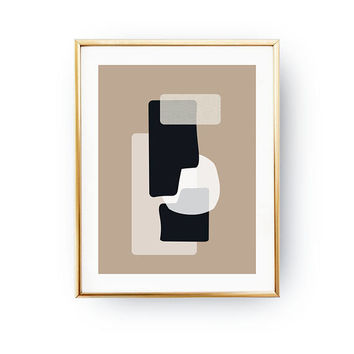 Brown Black Print, Modern Shapes, Simple Decor, Geometric Textures, Pastel Art, Minimalist Poster, Textured Watercolor, Abstract Wall Art