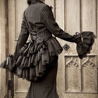 Ladies steampunk jacket or frock coat with bustle and corset detail