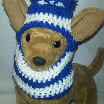 Snuggly pom pom dog hat / snood / hoodie- for Medium size dogs
