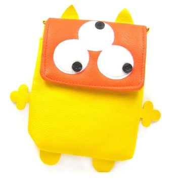 Three Eyed Monster Small Cross Body Shoulder Bag Purse in Yellow