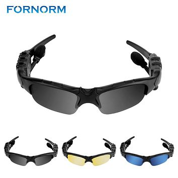 Wireless Sports Stereo Bluetooth Headset Handfree Sunglasses Talk Music Headset Headphone With A Pair Of Blue and Yellow Lens