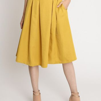 English Tea Flare Skirt In Mustard | Ruche