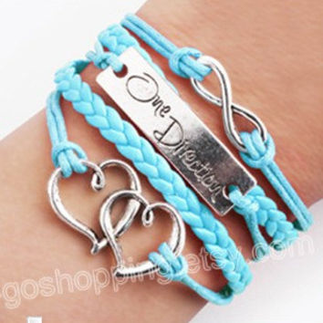 Wholesale different colors infinity, infinity bracelet, double heart bracelet, a leather bracelet direction friendship gift