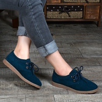 2015 spring and autumn women genuine leather flats shoes oxford shoes for women Moccasins woman lace up loafers shoes 8332