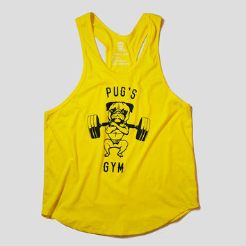 Classic Pug's gym Racerback Stringer, Pug Tank, Workout Clothing