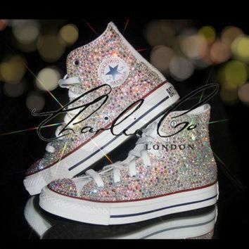 CREYUG7 CHARLIE CO. AB Crystal Strass Swarovski & Glass Hi Top Converse Trainers